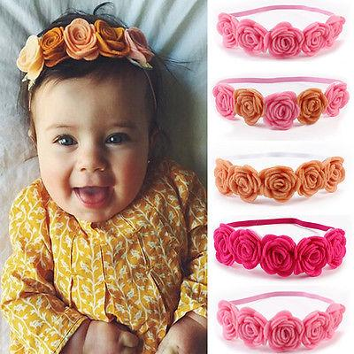 Newborn Baby Girls Infant Toddler Cute Crown Flower Headband Hair Band Headwear floral headband for baby girls