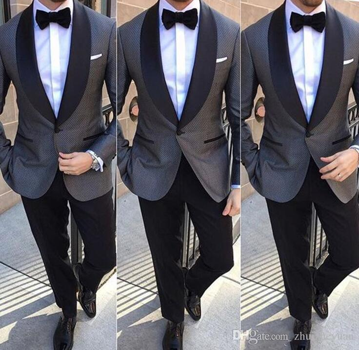 2018 New Design Two Piece Gray Groomsmen Suits Cheap Black Shawl ...