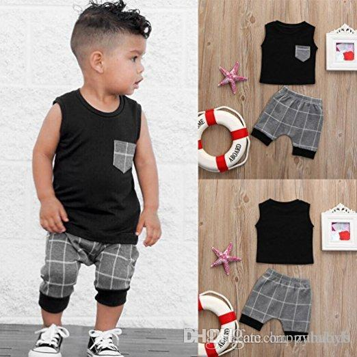 7041fb9d5c7e 2018 Boys Baby Summer Clothing Set Vest +Gray Plaid Shorts Set ...
