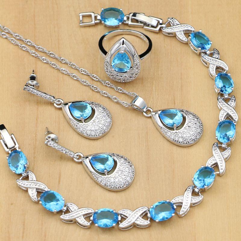 831c1ca753df Compre 925 Conjuntos De Joyas De Plata Azul Cielo Circón Perlas De Cristal  Blanco Para Las Mujeres Pendientes   Anillos   Pulsera   Collar Conjunto  Joyas ...