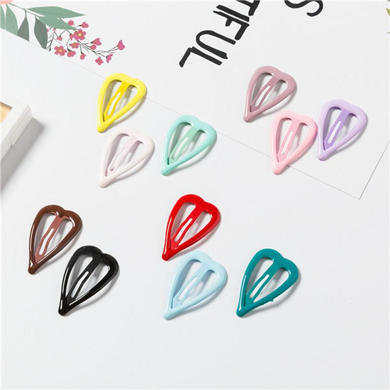 LOEEL Girl Hair Accessories Heart Shape Hairpins Paint Smooth Shiny Hair Clips for Children Women 3.5cm Metal Hairpins