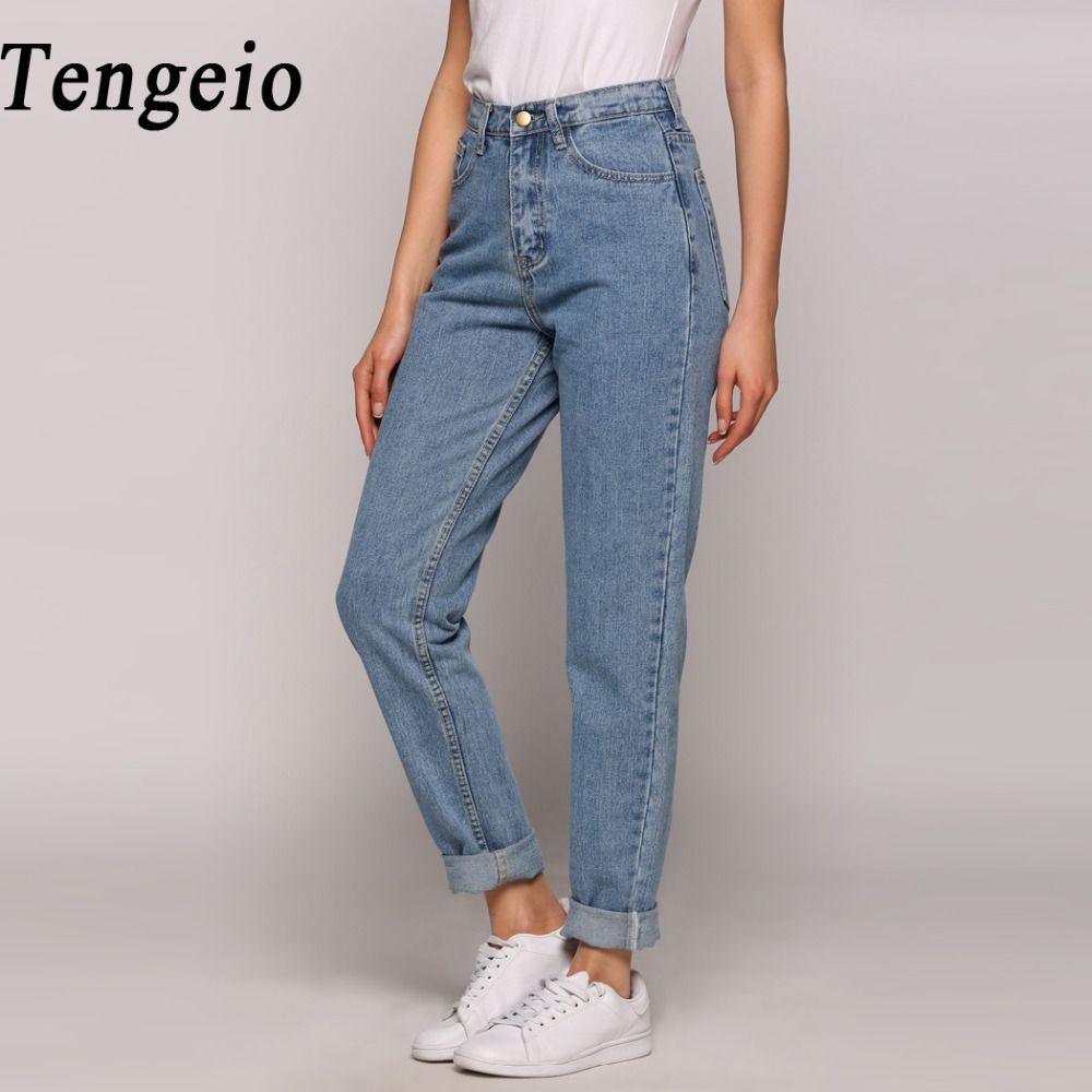 Großhandel Weibliche Hosen Sommer Boyfriend Jeans Für Frauen Vintage Hohe  Taille Gewaschen Knopf Blau Denim Lange Harem Jeans Zip Femme HoseY1882501  Von ... c73bfd5bb9