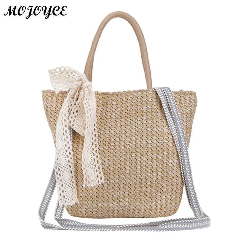 Retro Women Straw Handbag Girls Beach Large Capacity Tote Fashion Solid  Shoulder Bag Soft Crossbody Messenger Bags With Bow Designer Purses Satchel  Bags ... d8eb0eff2d562