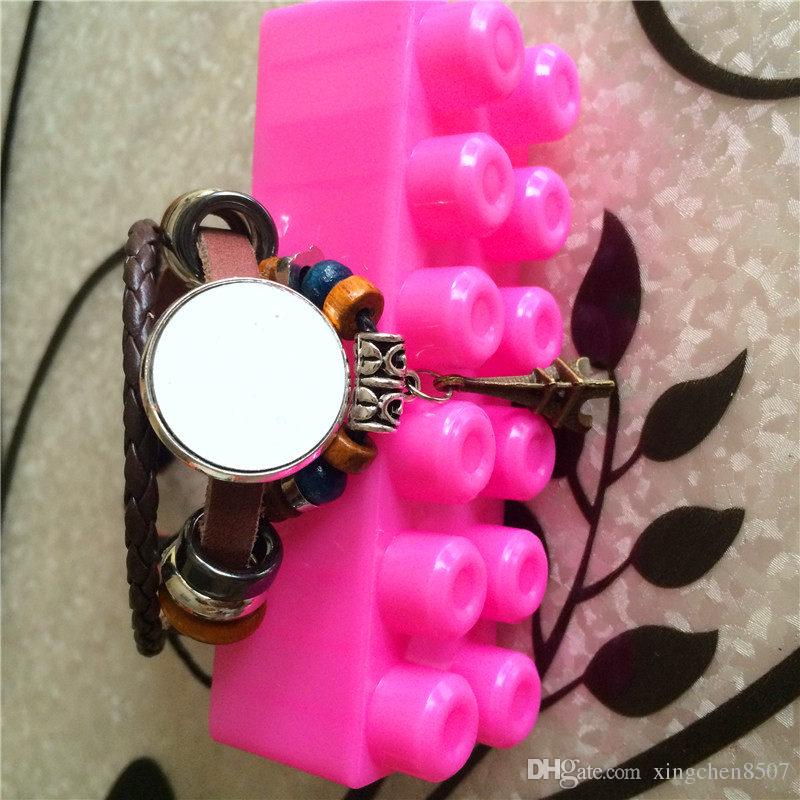 pulsera de piel de vaca para sublimación de punto bricolaje Retro pulseras de torre de hierro joyería para mujeres material de consumibles personalizado en blanco