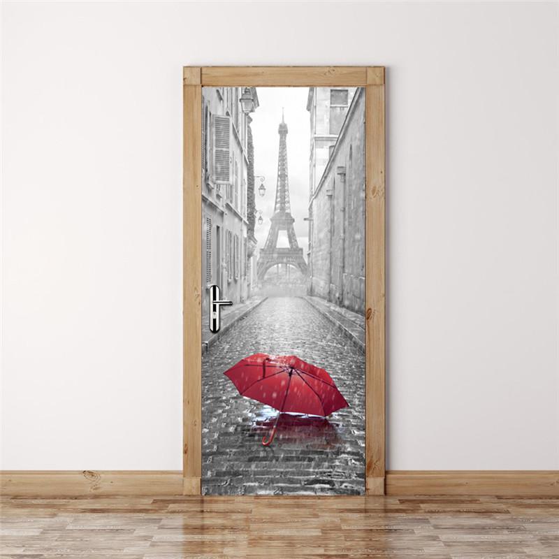 2017 New 3D Door Stickers Bedroom Wall Stickers Paris Eiffel Tower Waterproof Moisture Self-adhesive Door Stickers