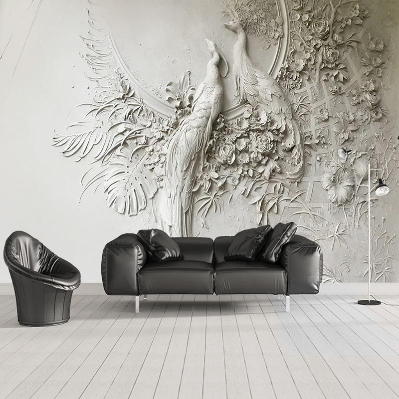 Acheter Personnalisé Mural Papier Peint 3D En Relief Peacock
