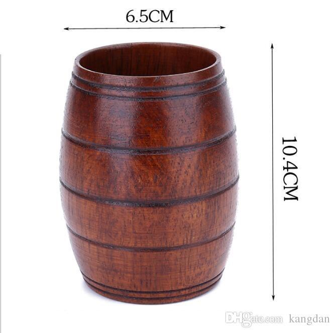 Boccale di birra a forma di barile di legno crestive in legno birra tazza di pollo bar drinkware bicchiere di vino portatile in legno tumbler