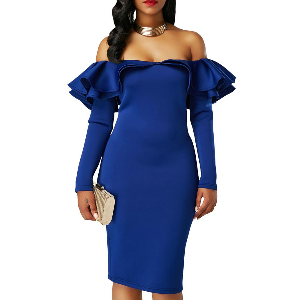 ac15961198d0 New Sexy Women Bodycon Dress Off Shoulder Ruffles Solid Long Sleeves  Elegant Party Club Midi Dresses White/Black/Pink/Blue Black And Gold Dresses  For ...