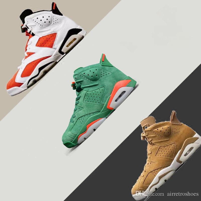 113e5512777 With Box 2018 AAA+ Quality Air Retro 6 NRG G8RD Gatorade Orange Green Wheat  Suede Basketball Shoes Sneakers Men Women Sports Sneaker 36-47 Retro 6  Gatorade ...
