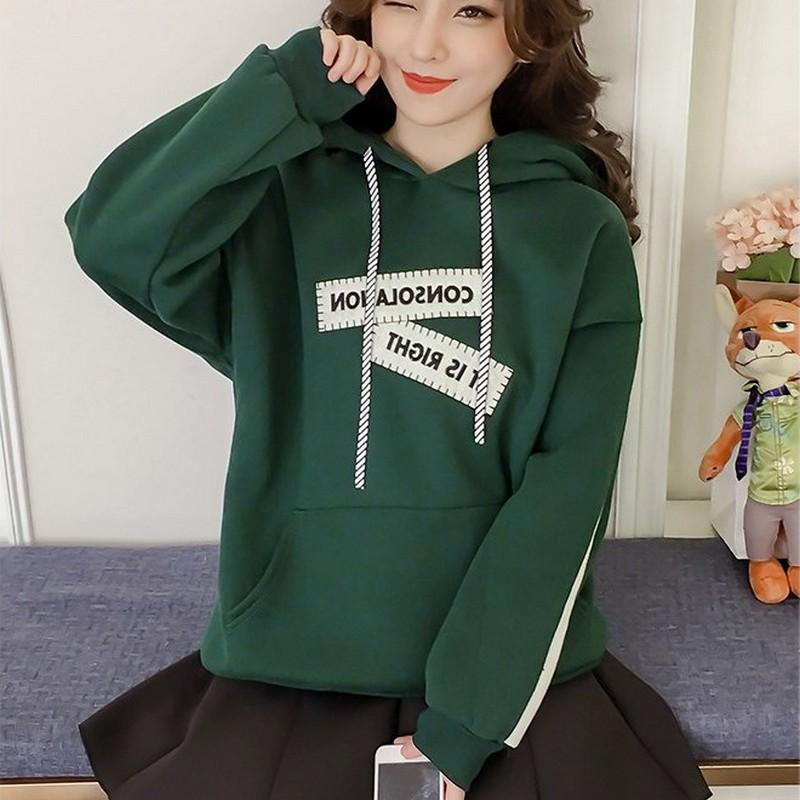 6e8582acb25 2018 Women Plus Size Sweatshirts Autumn And Winter Women S New Plus Velvet  Hooded Solid Casual Long Sleeves Letter Loose Pullovers From Hannahao
