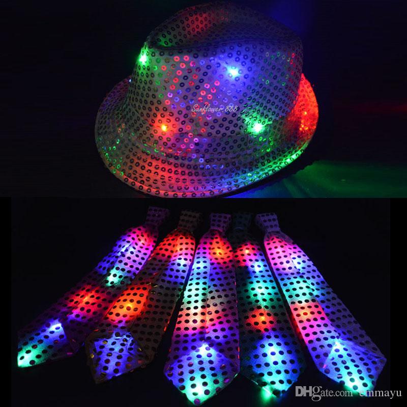 2019 LED Flashing Light Up Hat Sequin Jazz Hats Tie Haloween Party Wedding  Cap From Emmayu 625b52ea51b