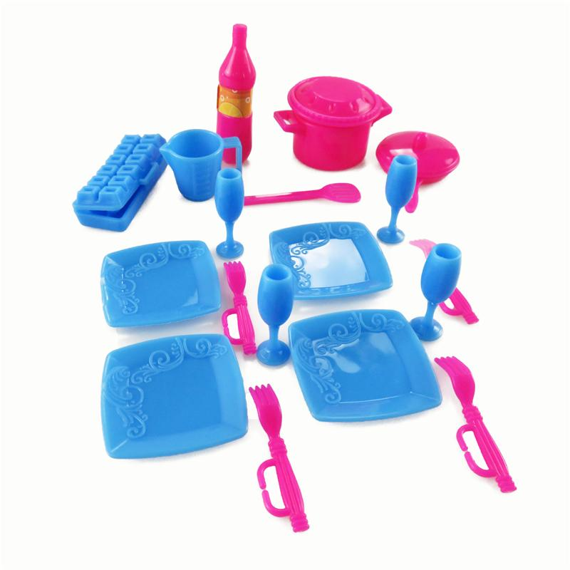 Mini Plastic Simulation tableware Kitchen pots and pans dishes glasses cutlery Doll Accessories For Barbie Dolls