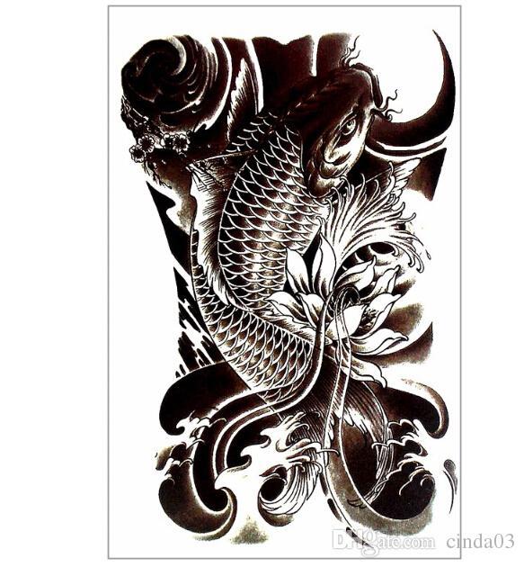 Wholesale Fancy Carp Fish Temporary Tattoo Body Art Sleeve Arm Flash ...
