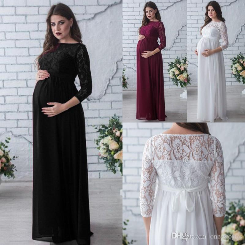 7b96467df0347 Pregnant 3/4 Sleeves Evening Dress Women Long Chiffon O Neck Maternity  Loose Casual Dress Gowns With Lace Tops Summer Beach Sundress MC1745 Womens  Sun ...