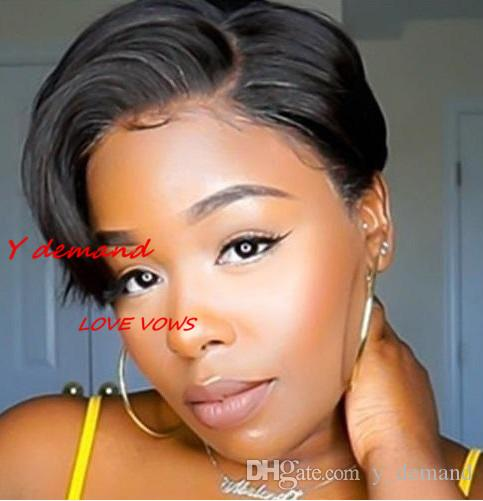 Fashion Short Black Straight Wigs For Black Women Afro African American Celebrity Wigs Synthetic Hair Celebrity Hairstyle High Quality