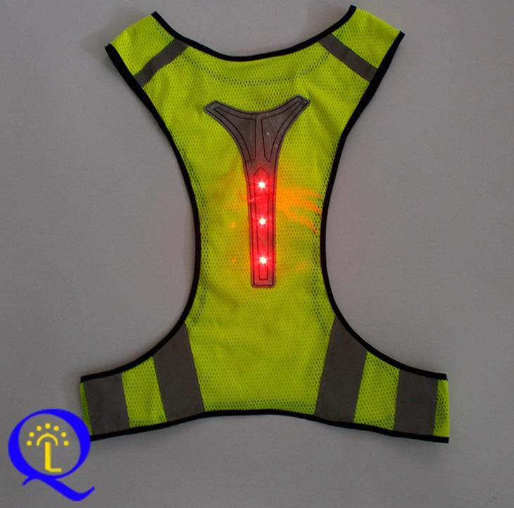 Reflective Running Vest Led Safety Vest with Adjustable Waist & Large Pocket Night Light High Visibility for Jogging Biking Motorcycle Walki