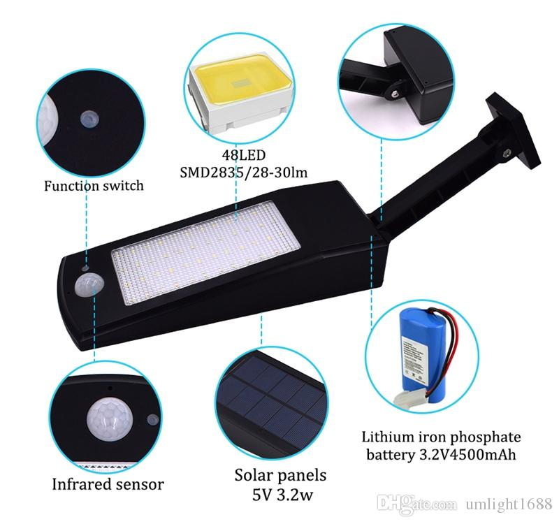Umlight1688 48 LEDs Solar Light Outdoor LED Solar Powered Garden Lights PIR Body Motion Sensor Solar Floodlights Spotlights Lamp bulbs