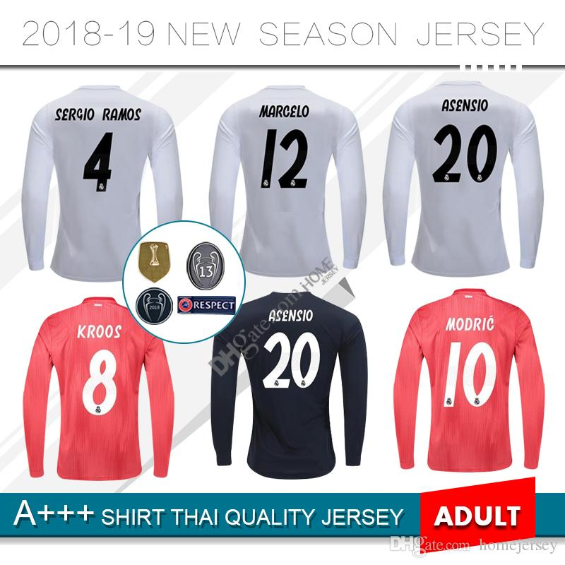 a2598ab6901 2019 18 19 Real Madrid Long Sleeve Home Soccer Jerseys ASENSIO BALE MODRIC  SERGIO RAMOS KROOS Hazard 2018 Madrid Away Third Football Shirt From  Homejersey