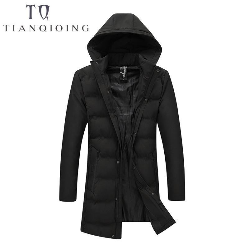 2018 Winter Herren Daunenjacke Parka Kleidung Jacken Herren langen Abschnitt Mantel männlichen Parkas mit Kapuze Outwear Baumwolle gefütterte Jacke