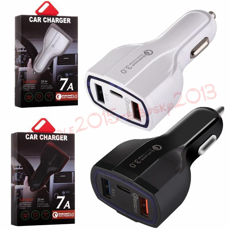 Fast Quick Charge Car charger 3 USb Ports Type C 35W 7A Auto power adapter car chargers for ipad iphone 7 8 x samsung s7 s8 android phone