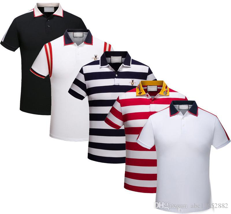 e247bc90a New Summer Men's and Women's Short Sleeve Casual Polo Snake Embroidery Black  White Striped Polo T-Shirt