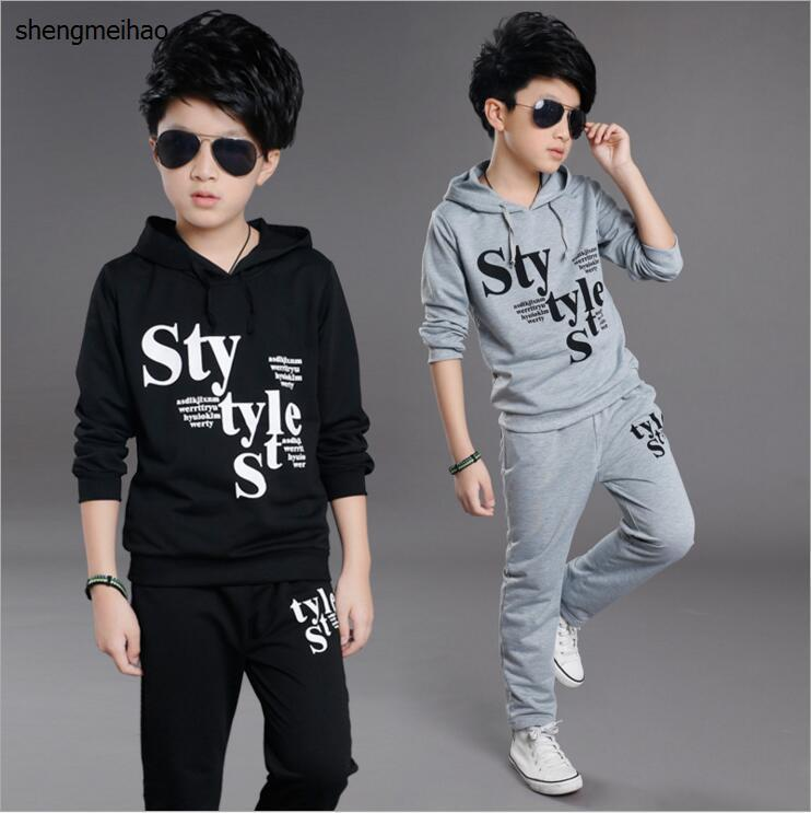 1a00ff800 2018 Spring, Autumn Children Clothes Set 2 Pieces Set Boys Tracksuit Hoodies  Coats+Pants Kids Boys Sport Suit for 5-13 Year Old