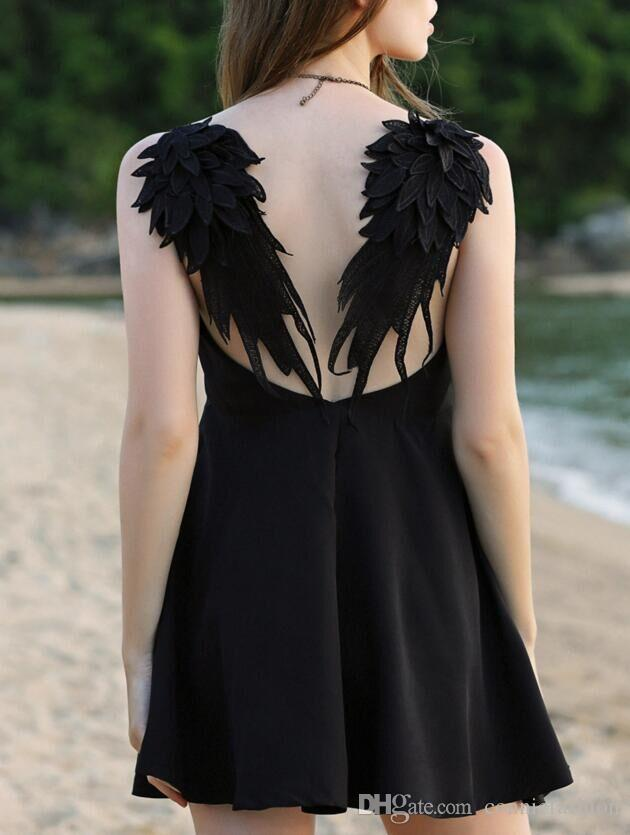2018 Summer Women's Fashion Design Sexy Open Back Lace Angel Wings Slim Fit Sleeveless V Neck Party Evening Mini Dress