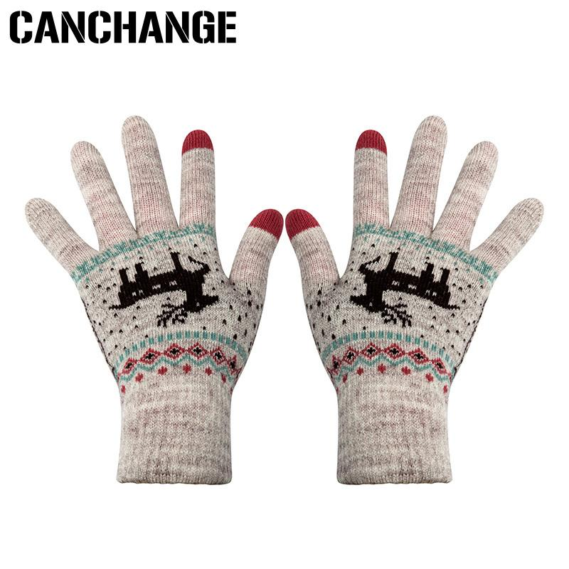 CANCHANGE Fashion Touch Screen Gloves Women Stretch Knitted Deer Pattern Gloves Mittens Winter Warm Accessories Wool Guantes