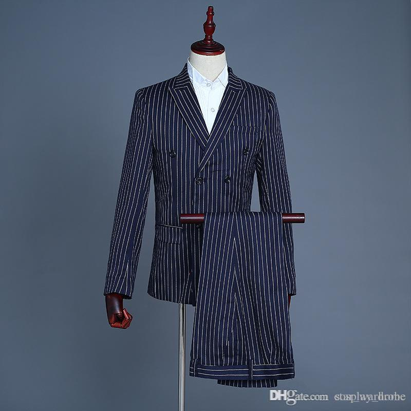 62c7cb9d619 2019 2018 New Men Flip Up Suit Male Navy Blue Stripe Blazer Nightclub Bar  Singers Stage Show Dress Jacket Costumes S 2XL From Cosplay home