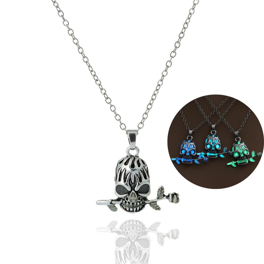 2018 Hot silver plated Skull Head Evil angel luminous night long chain pendant Necklace for Women Men Gift Jewelry