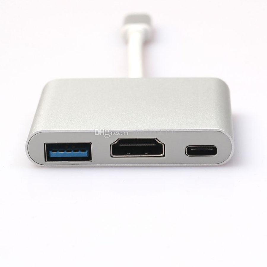 3 in 1 USB Tipo 3.1 C a HDMI / USB 3.0 / Tipo C Cavo convertitore digitale Adattatore multiporta digitale Macbook