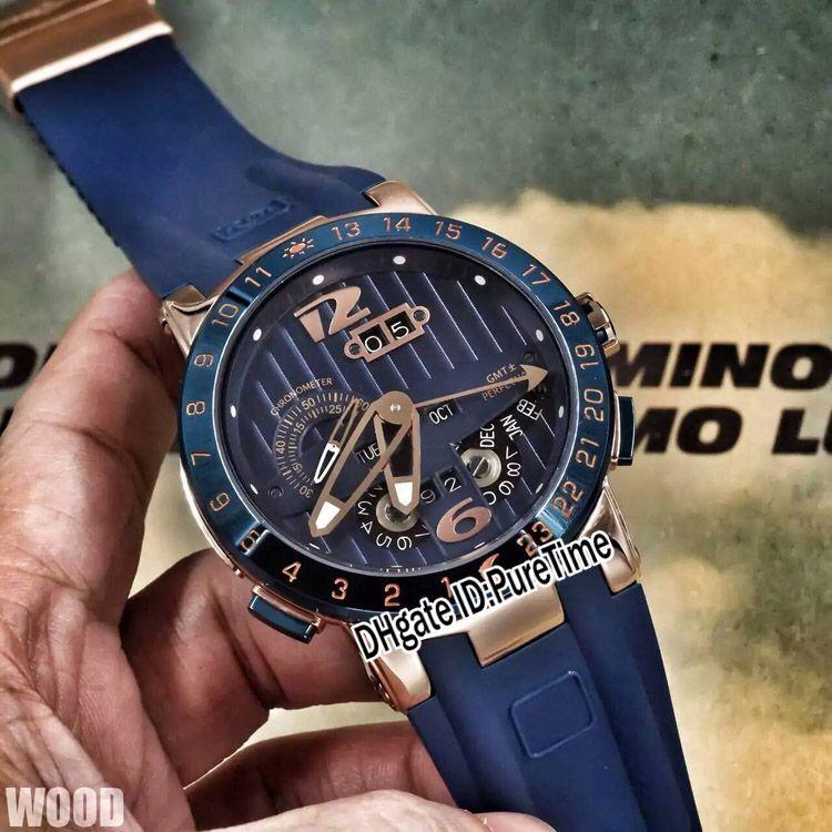 2018 New Executive El Toro/Black Toro Perpetual Calendar GMT 326-00-3/BQ Rose Gold Blue Dial Blue Rubber Automatic Mens Watch Watches UN17c3