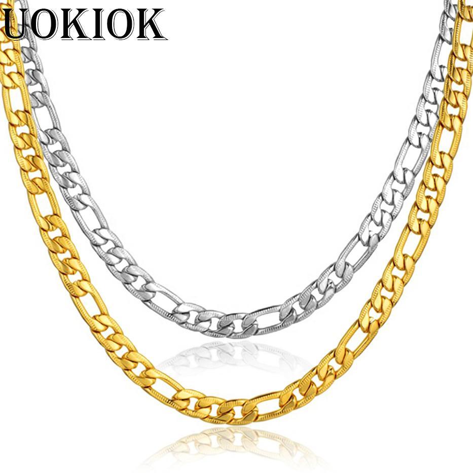 29c42b554b0f Compre Hombres Collar De Cadena De Acero Inoxidable Masculino Color Oro  Figaro Cadena Collares Para Hombres Mujeres Joyería 7 MM A  12.34 Del  Atunice ...