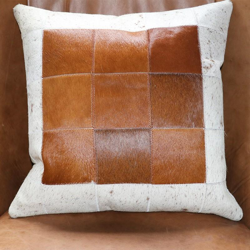 hand made real cow fur plaid pillow with core square shaped natural rh dhgate com