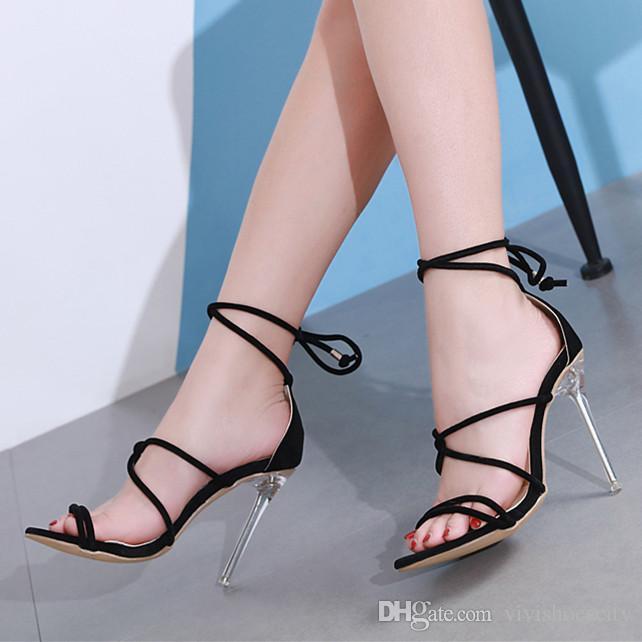 Noué 11cm 40 Cheville Sandales Transparents La Wrap Chaussures 35 Style Lanière Femmes Taille Talons À Noir Designer rdxthQsC