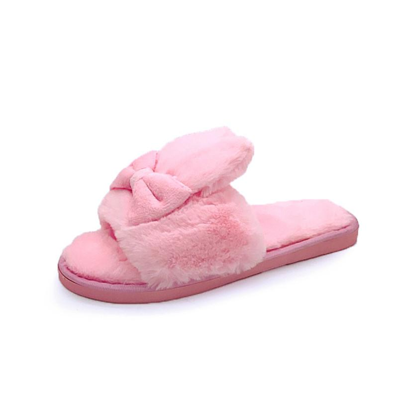 59f6426ca174 2018 Winter Women Home Slippers with Faux Fur Warm Shoes Woman Slip ...