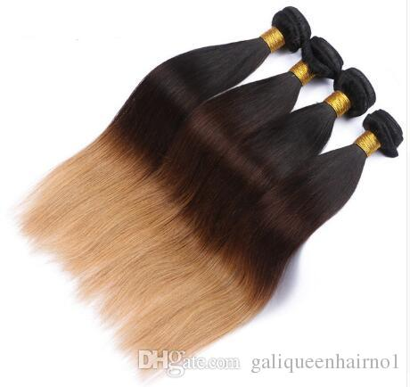 Peruvian Straight Human Hair Remy Hair Weaves Ombre 3 Tones 1B/4/27 Color Double Wefts 100g/pc Can Be Dyed Bleached