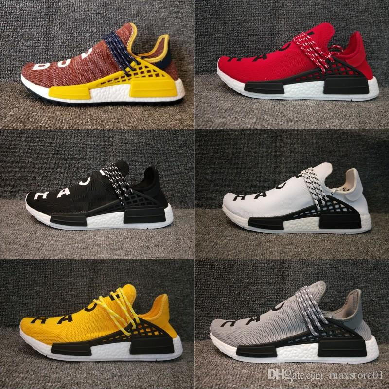 37e6a738b7fcd Human Race Pharrell Williams Hu Trail NERD Men Womens Running Shoes White  Noble Ink Core Black Red Sports Boots Designer Sneaker 36 45 Running Shoes  Men ...