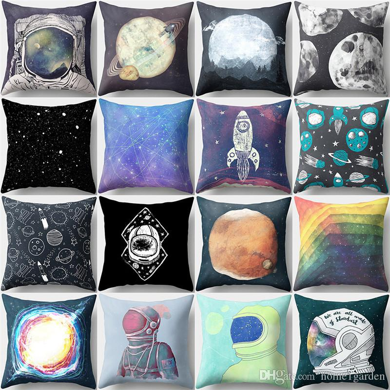 mysterious universe cosmonaut pattern pillow cover peach skin office