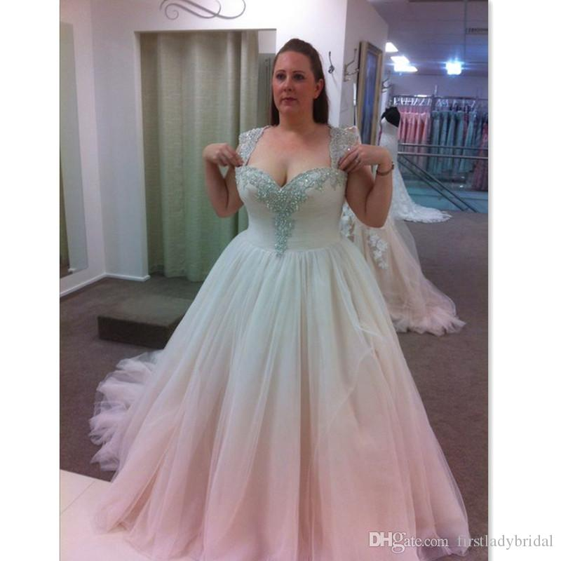 f64b8967622 Discount 2018 Plus Size Wedding Dresses Straps Tulle Beaded A Line  Sweetheart Big Women Elegant Formal Bridal Gowns Custom Made Corset Back  Pictures Of ...