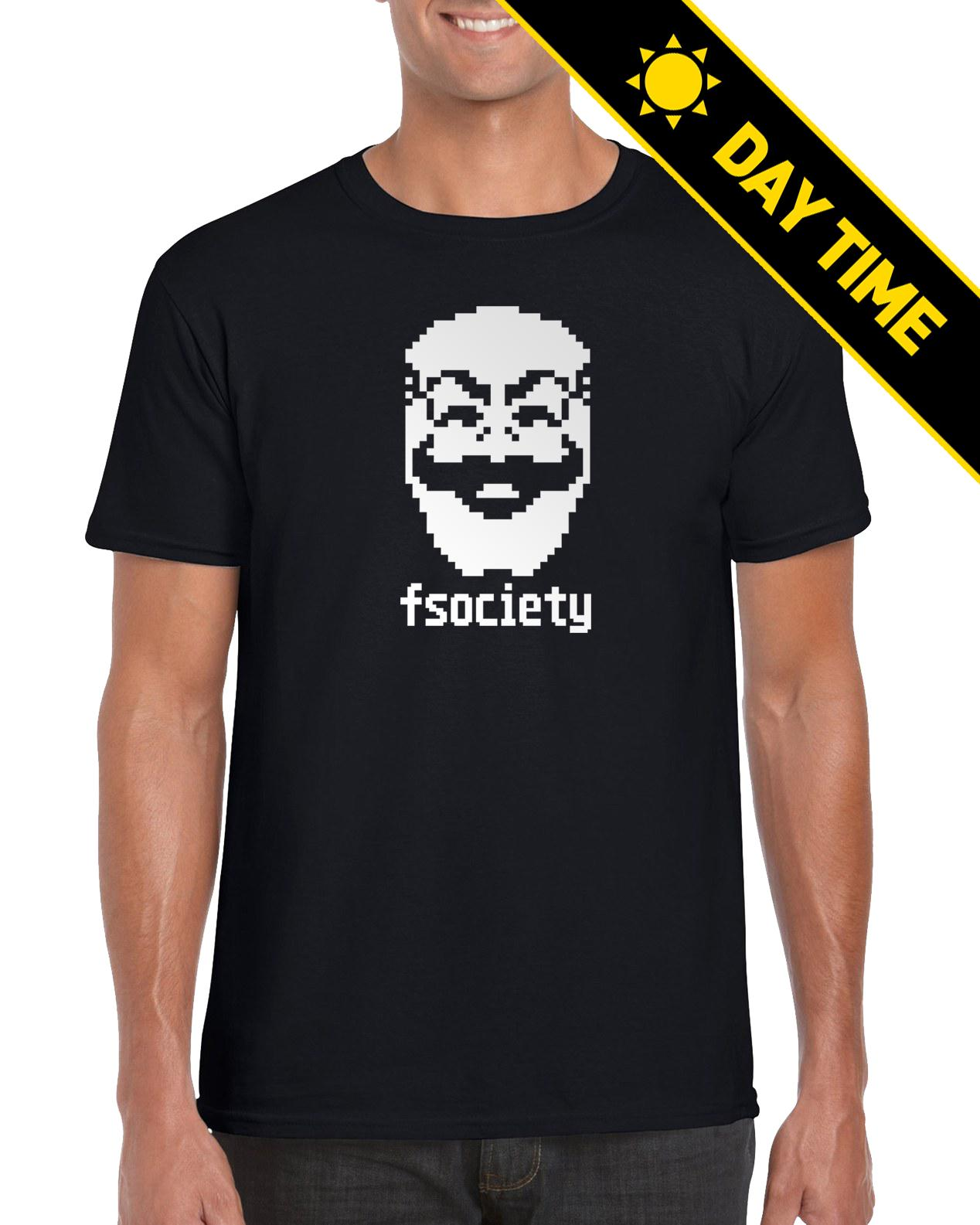 8105950ae2a6 GLOW IN THE DARK! Fsociety Mr Robot Hacker Pixelated Fan Made TShirt 2018  High Quality Brand Men T Shirt Casual Short Sleeve Silly T Shirt Make Your  Own Tee ...