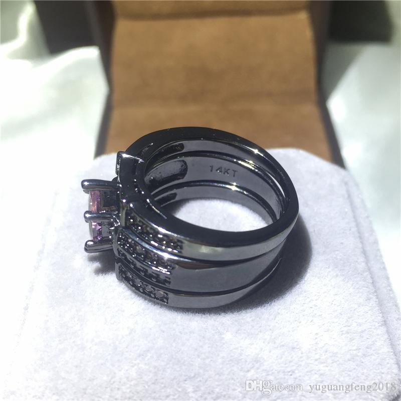 vintage 3-in-1 Women ring set 5A clear zircon black gold filled filled Engagement wedding band rings for women men Size 5-10