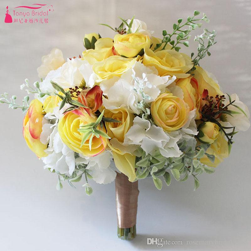 Yellow white wedding bouquet handmade artificial flower rose buque handmade artificial flower rose buque casamento bridal bouquet for wedding decoration 2018 how much are wedding flowers how to make paper flowers for mightylinksfo