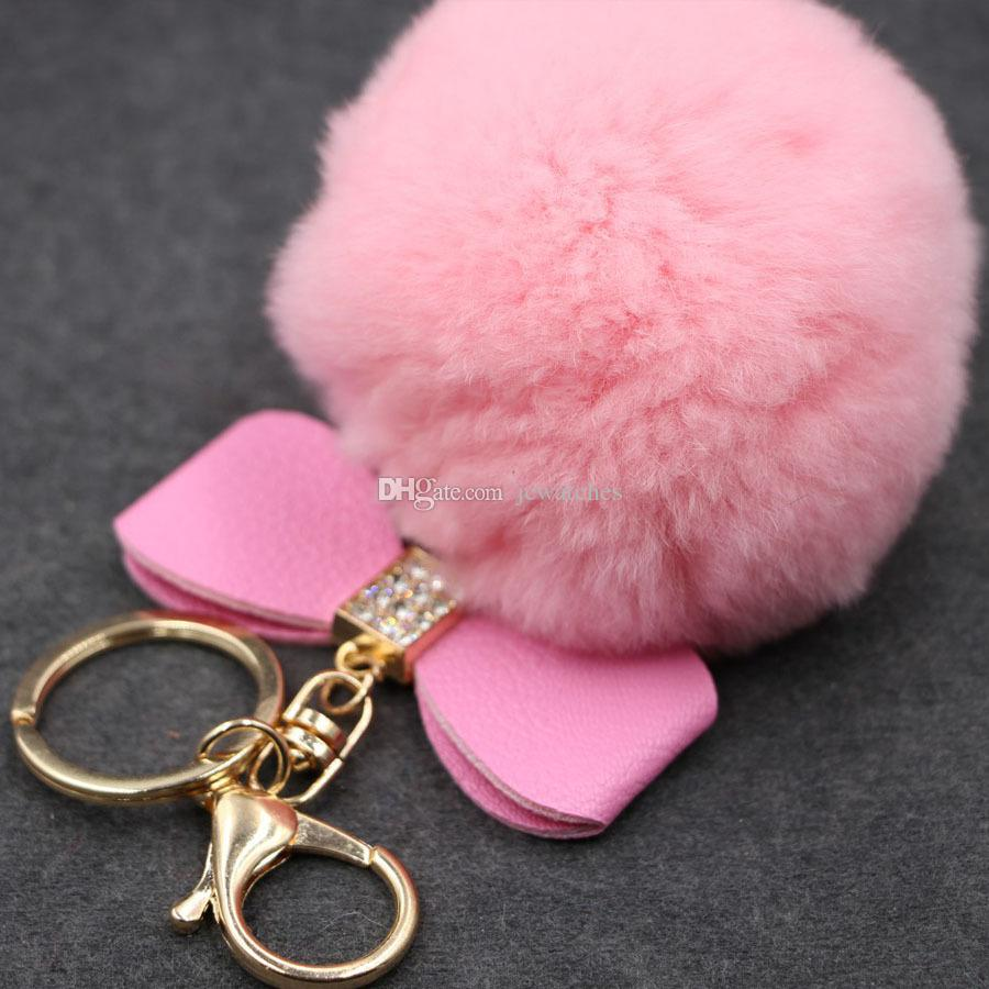 Pom Rabbit Keychain Fur Pom Car Key Ring Women Girls Cute Party Gift ...