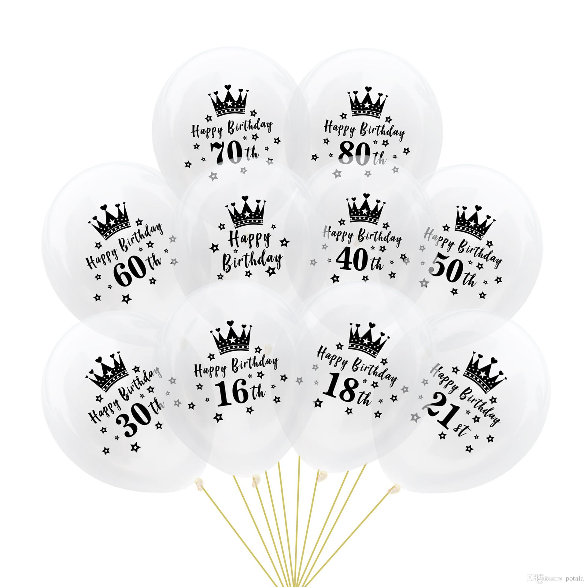 12 Black Crown Balloons 28g Thick Number Inflatable Latex Birthday Ballons Party Decor Palloncini Wedding Xmas Christmas Halloween Gifts Helium Balloon