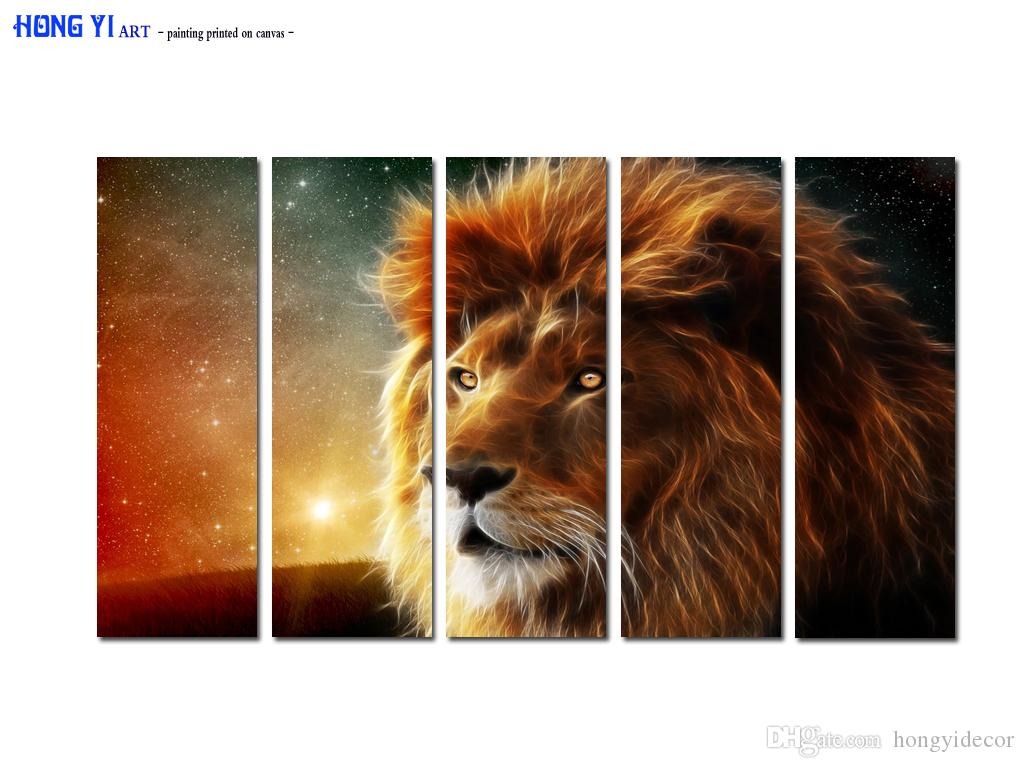 Large Contemporary Hot Sale Art Wall Animal Lion Head oil painting Picture Printed on canvas for Living Room Bedroom Home Decor Aset167