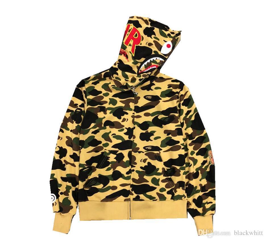 2c8b720aef0c Wholesale Men s Camouflage Hip Hop Shark Hoodie Men Women Shark Head ...