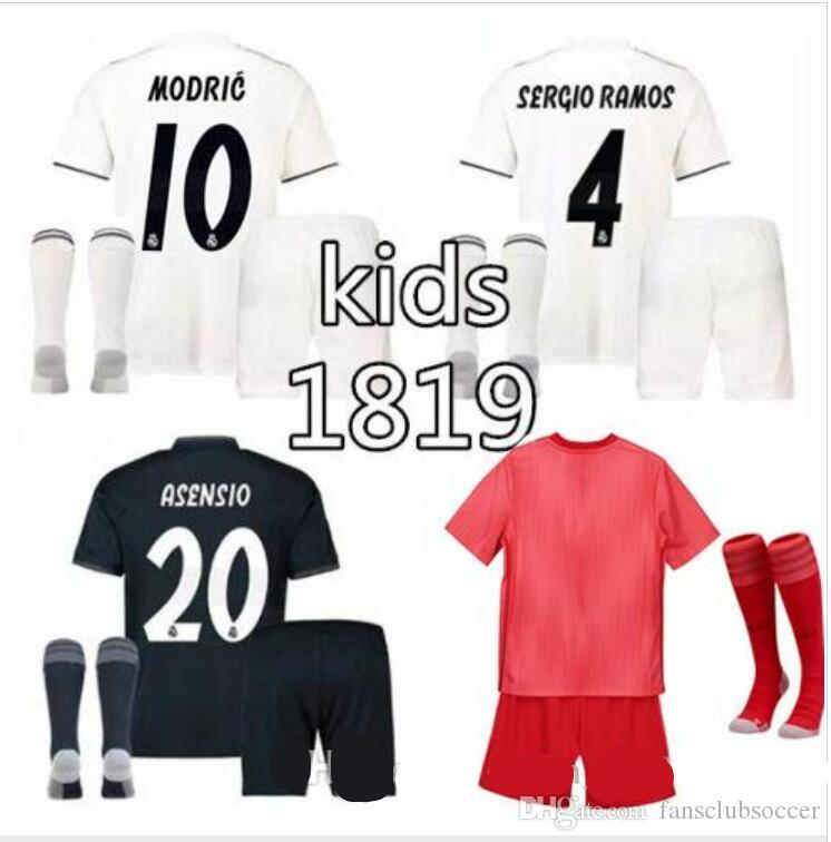 2d3933a76 Best Gift Kids Kit 2018 2019 Real Madrid Soccer Jersey 18 19 Youth ...