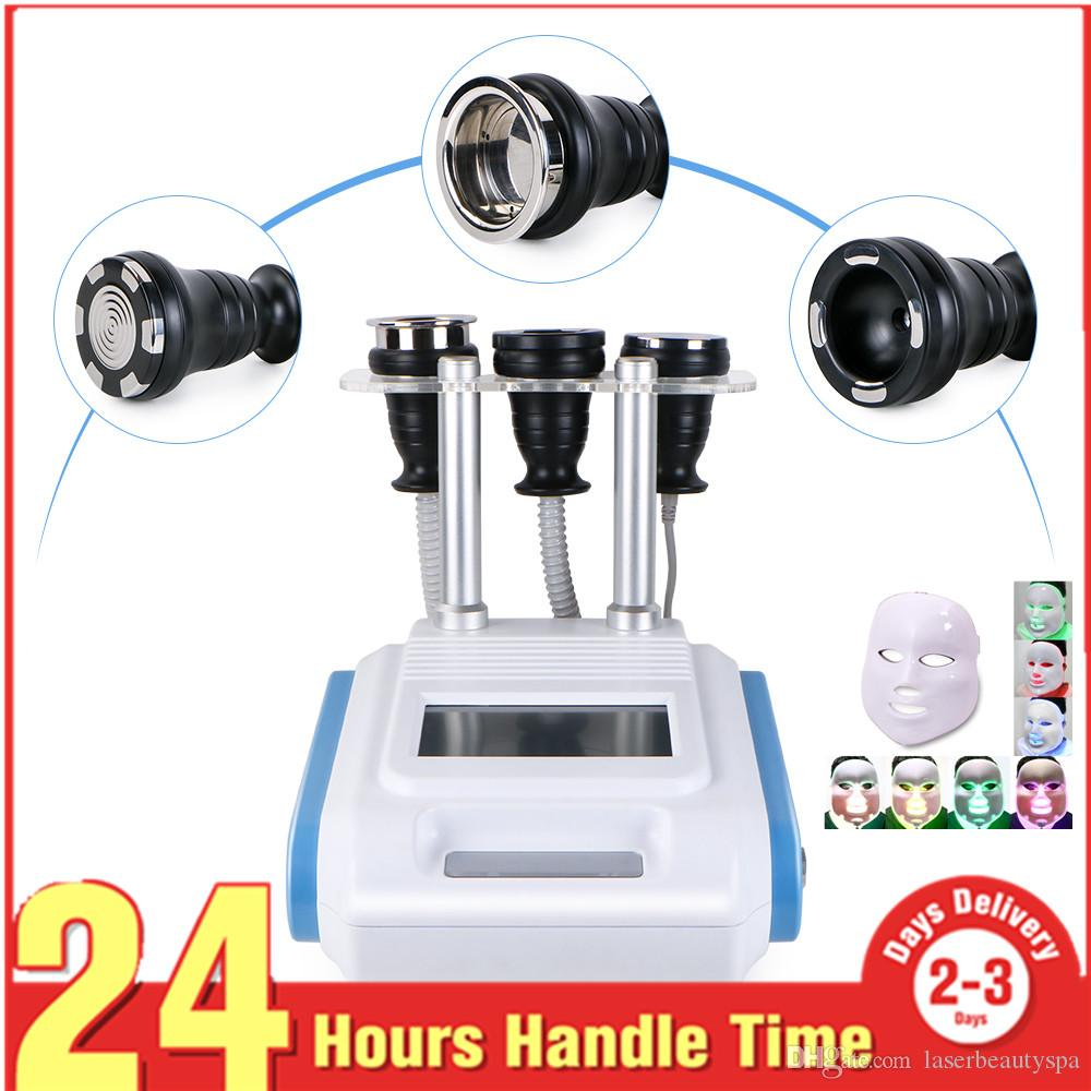 Venta caliente rejuvenecimiento de la piel LED máscara de fotones vacío cavitación ultrasónica 3 en 1 radiofrecuencia RF cuerpo adelgazamiento máquina belleza Spa MS-3303