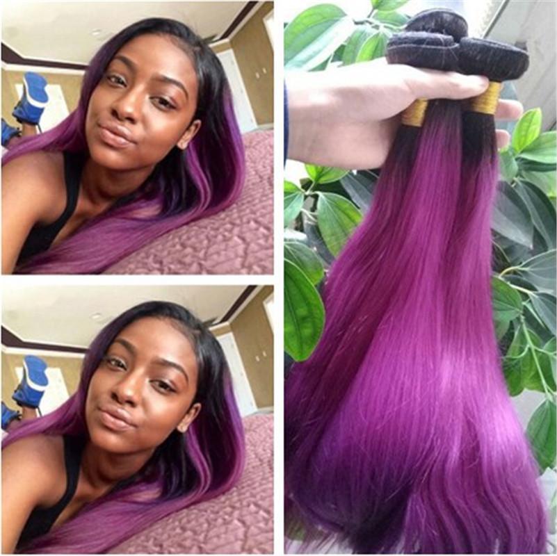 Black And Purple Hair Indian Peruvian Brazilian Virgin 1b Purple